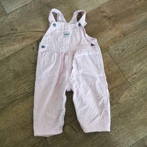 2/$20 Oshkosh B'gosh striped overalls 12 M